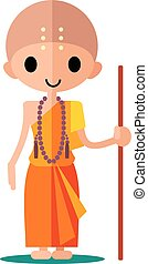 Buddhist monk with a rosary