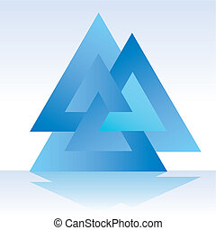 triángulo, triple, 3D
