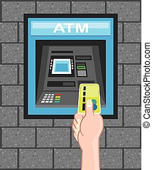 ATM human hand with a card