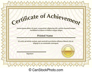 Certificate with golden seal vector