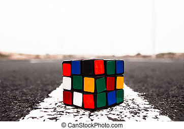 Rubiks Cube Solved on the Asphalt Road