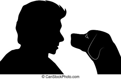 Silhouette of a man and dog.