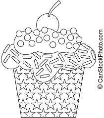 Black and White cupcake - Black and White illustration of a...