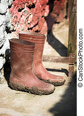 wellington boots - old wellington boots in mud