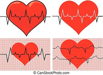 ecg graph - heart - heart with electrocardiograme on the...