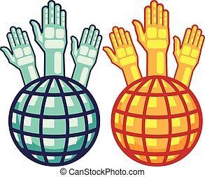 Globe and Hands Up vector