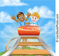 Roller Coaster Theme Park - Cartoon boys on a roller coaster...