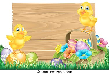 Easter Chicks and Eggs Basket Sign - Isolated wooden cartoon...