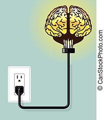 Glowing plugged in brain Vector