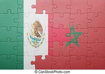 puzzle with the national flag of morocco and mexico concept...