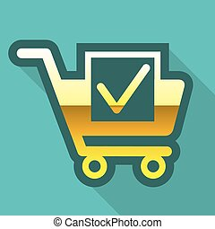 Golden Cart Icon with check mark