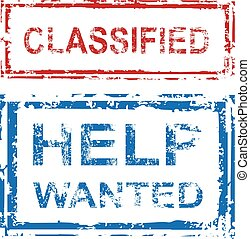 Classified Stamp Help Wanted Stamp Vector