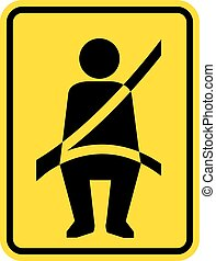Seat belt Reminder Icon Sign Vector