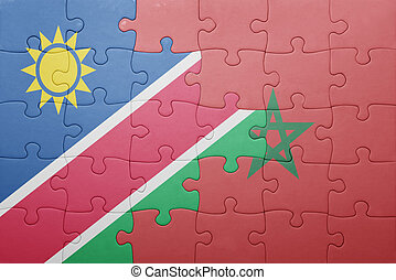 puzzle with the national flag of morocco and namibia ....