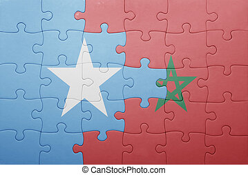 puzzle with the national flag of morocco and somalia concept...
