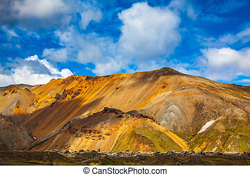Volcanic multi-colored rhyolite mountains - Volcanic summer...