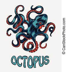 Octopus hand drawn vector illustration Colorfull vector...
