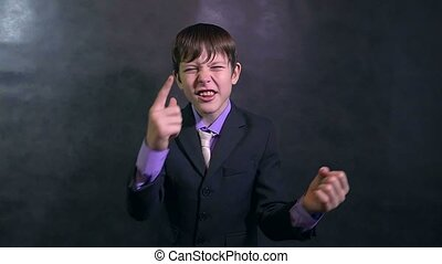 businessman angry teenager boy shouting swears slow motion