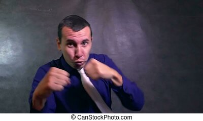 fights man boxing businessman waving his arms angry slow...