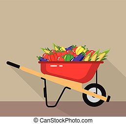 Wheel Barrow filled with Vegetables