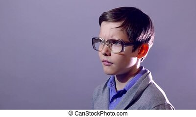 boy teenager nerd portrait think the problem schoolboy...