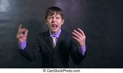 businessman teenager boy shouting angry swears slow motion -...