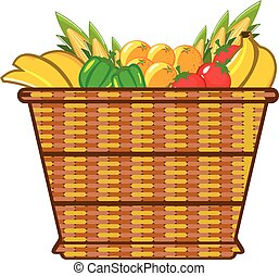 Basket with fruits and vegetables vector