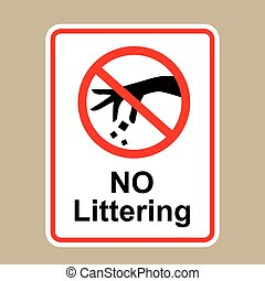 No littering sign Hand gesture