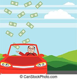 Money Falling in the Car Vector