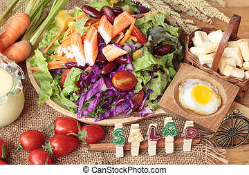 Fresh salad and egg with dressing delicious.