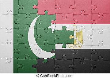 puzzle with the national flag of pakistan and egypt.