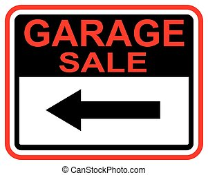 Garage Sale sign this way arrow