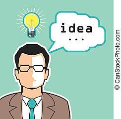 Bright Idea Man vector Illustration
