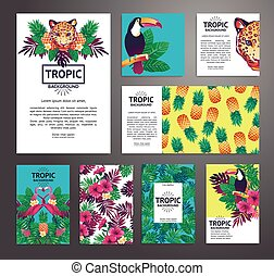 Tropical printable set. Vector cards, notes and banners with...