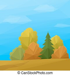 Landscape, Autumn Forest Low Poly - Low Poly Landscape,...