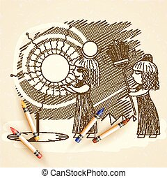 Vector illustration of an Egyptian and a sundial