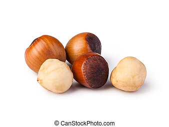 hazelnuts - Closeup view of hazelnuts isolated on white...