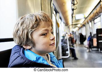 男孩, 年輕, 運輸, 公眾