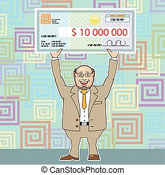 Lottery Winner 10M Holding a Check