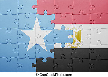puzzle with the national flag of somalia and egypt concept