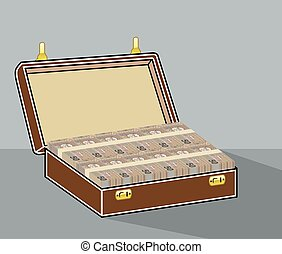 Suitcase with Money Open