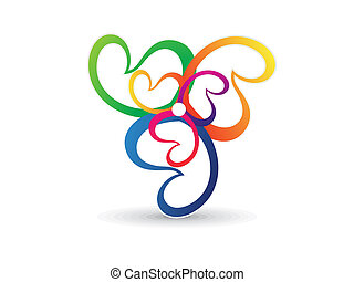 abstract colorful floral shape