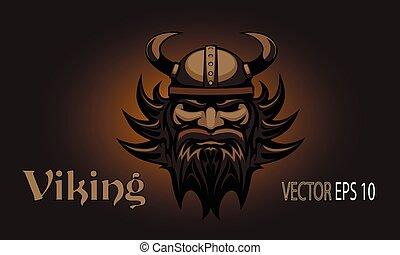 Viking head. Tattoo