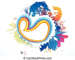 abstract artistic colorful heart explode vector illustration