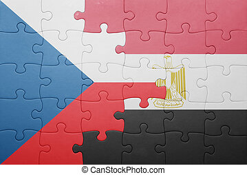 puzzle with the national flag of czech republic and egypt