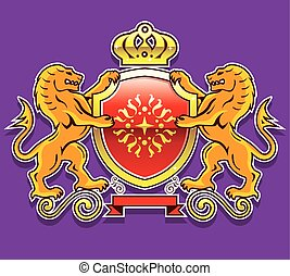 Royal Lions Shield Crown Badge