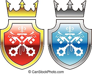 Royal Shield Red Blue Crown Crossed Keys logo