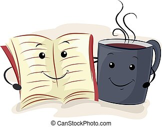 Book Coffee Mascot Hang Out - Mascot Illustration of a Book...