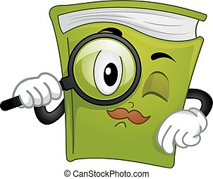 Book Detective Magnifying Glass Mascot