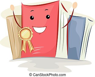 Book Mascot Best Seller Ribbon - Mascot Illustration of a...